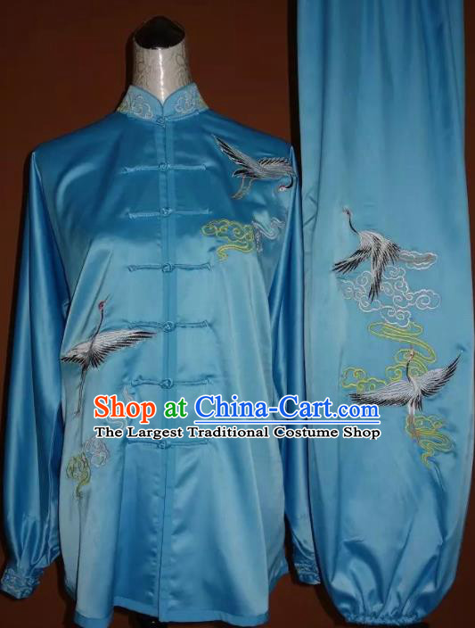 Top Grade Kung Fu Embroidered Cranes Blue Costume Chinese Tai Chi Martial Arts Training Uniform for Adults