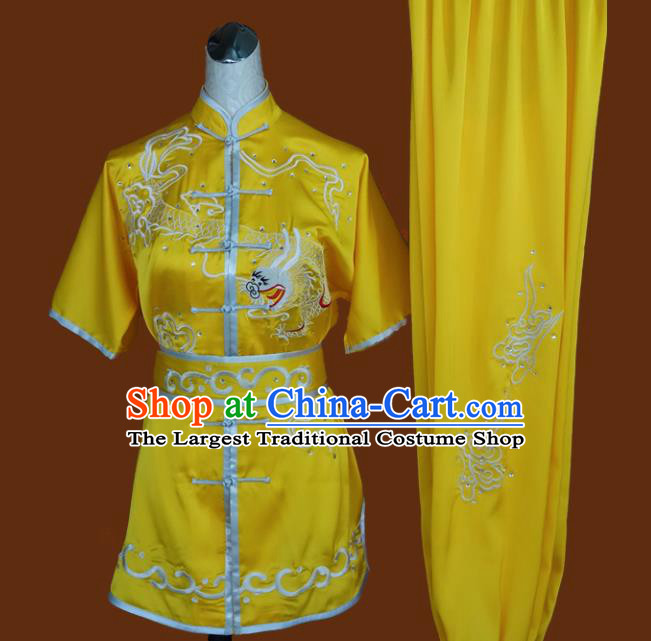 Top Grade Kung Fu Embroidered Dragon Yellow Costume Chinese Tai Chi Martial Arts Training Uniform for Adults