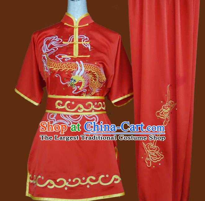 Top Grade Kung Fu Embroidered Dragon Red Costume Chinese Tai Chi Martial Arts Training Uniform for Adults