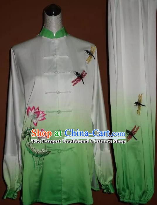 Top Grade Kung Fu Embroidered Lotus Green Costume Chinese Tai Chi Martial Arts Training Uniform for Adults