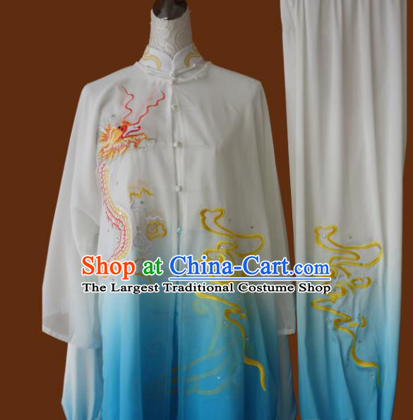 Top Grade Kung Fu Embroidered Dragon Blue Costume Chinese Martial Arts Training Tai Ji Uniform for Adults