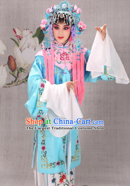 Professional Chinese Traditional Beijing Opera Costume Ancient Court Maid Blue Dress for Adults