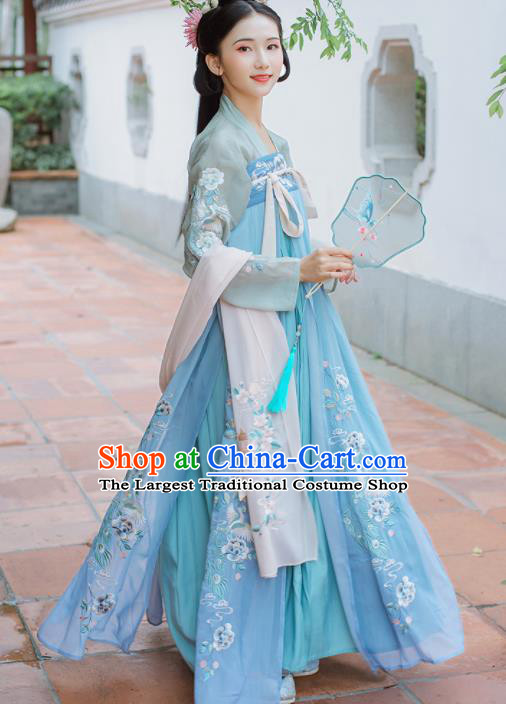 Chinese Traditional Princess Embroidered Hanfu Dress Ancient Tang Dynasty Palace Lady Historical Costume for Women