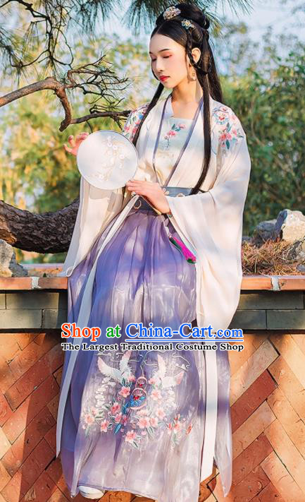 Chinese Ancient Peri Princess Embroidered Hanfu Dress Traditional Tang Dynasty Imperial Consort Historical Costume for Women