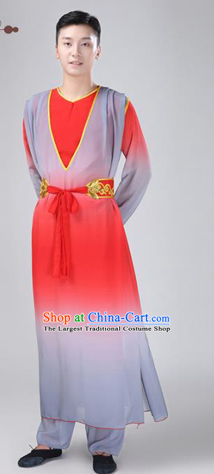Chinese Traditional National Stage Performance Costume Classical Dance Red Clothing for Men
