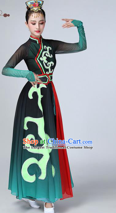 Chinese Traditional Ethnic Stage Performance Dance Costume Classical Dance Green Dress for Women