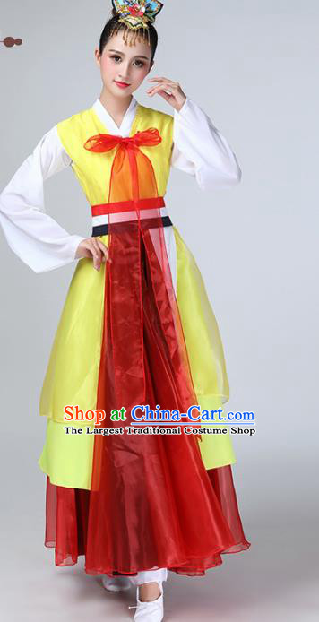 Chinese Traditional Korean Ethnic Stage Performance Dance Costume Classical Dance Yellow Dress for Women