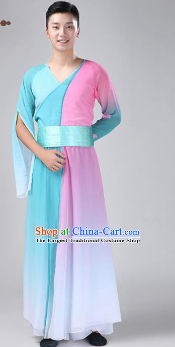 Chinese Traditional National Stage Performance Costume Classical Dance Blue Clothing for Men
