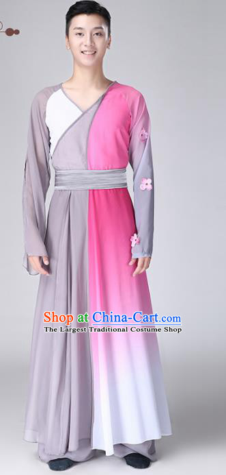 Chinese Traditional National Stage Performance Costume Classical Dance Grey Clothing for Men