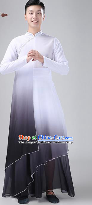 Chinese Traditional National Stage Performance Costume Classical Dance Gradient Grey Clothing for Men