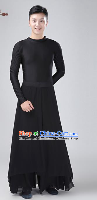 Chinese Traditional National Stage Performance Costume Classical Dance Black Clothing for Men