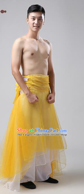 Chinese Traditional National Stage Performance Costume Classical Dance Yellow Clothing for Men