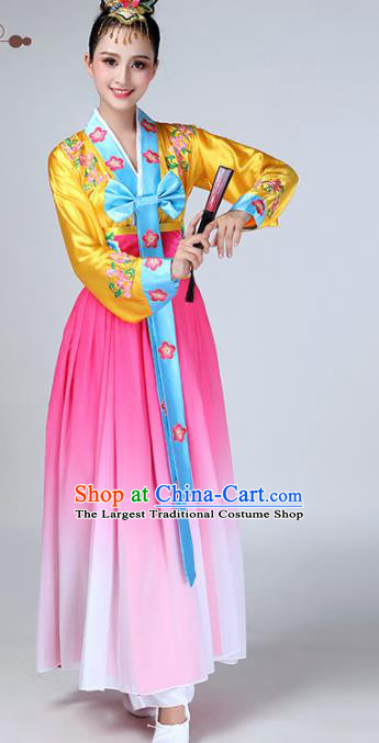 Chinese Traditional Korean Ethnic Stage Performance Dance Costume Classical Dance Pink Dress for Women