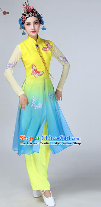 Chinese Traditional Stage Performance Dance Costume Classical Dance Yellow Blue Dress for Women