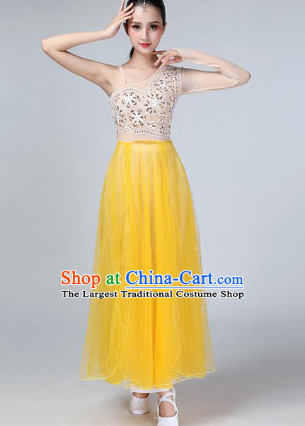 Chinese Traditional Stage Performance Dance Costume Classical Dance Yellow Veil Dress for Women