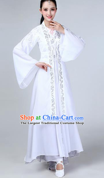 Chinese Traditional Stage Performance Dance Costume Classical Dance White Dress for Women