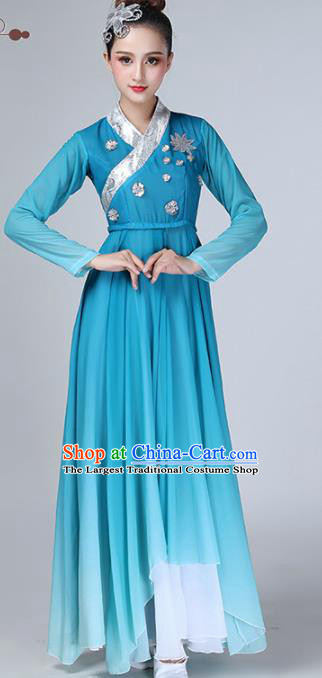 Chinese Traditional Stage Performance Umbrella Dance Costume Classical Dance Blue Dress for Women