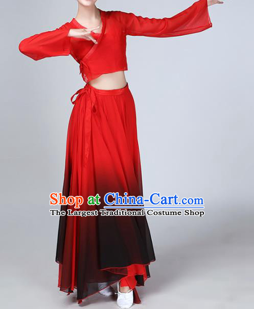 Chinese Traditional Stage Performance Umbrella Dance Red Costume Classical Dance Dress for Women