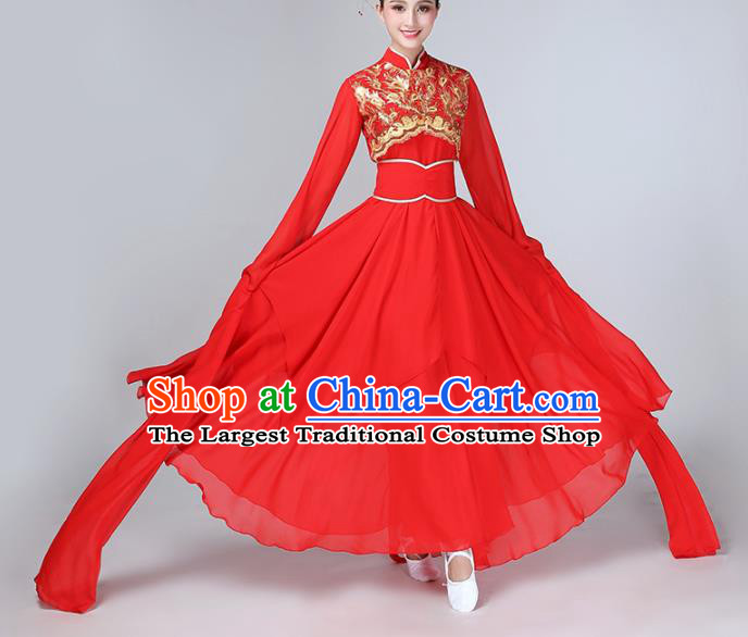 Chinese Traditional Water Sleeve Dance Costume Classical Dance Red Hanfu Dress for Women