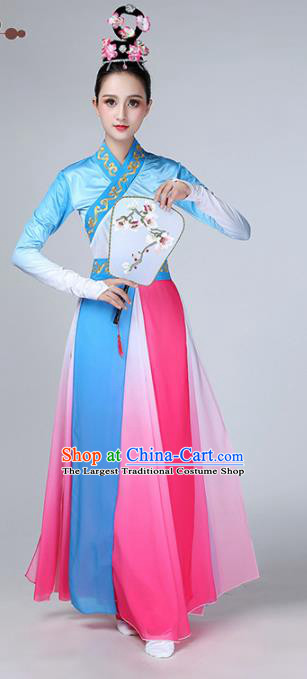 Chinese Traditional Stage Performance Costume Classical Dance Blue Dress for Women
