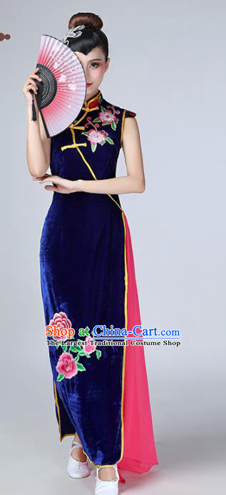 Chinese Traditional Stage Performance Costume National Cheongsam Royalblue Qipao Dress for Women