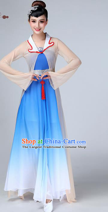 Chinese Traditional Stage Performance Umbrella Dance Blue Costume Classical Dance Dress for Women
