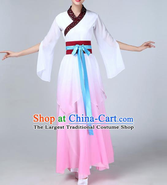 Chinese Traditional Stage Performance Umbrella Dance Costume Classical Dance Pink Dress for Women