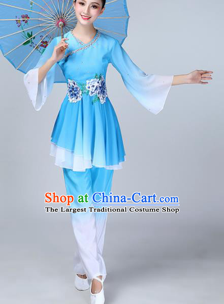 Chinese Traditional Stage Performance Folk Dance Costume National Fan Dance Blue Clothing for Women