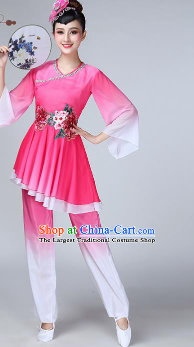 Chinese Traditional Stage Performance Folk Dance Costume National Fan Dance Rosy Clothing for Women