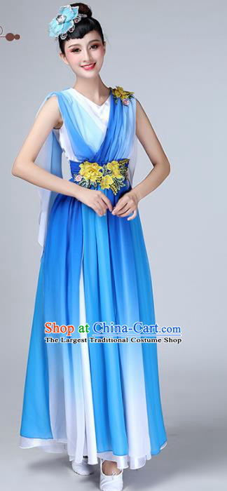 Chinese Traditional Stage Performance Chorus Costume Classical Dance Blue Veil Dress for Women