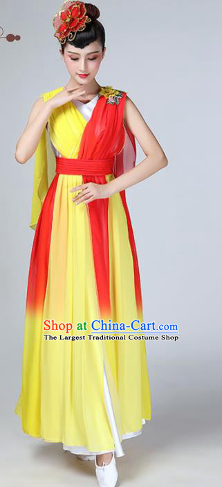 Chinese Traditional Stage Performance Chorus Costume Classical Dance Yellow Veil Dress for Women
