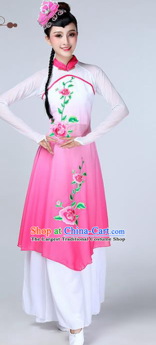 Chinese Traditional Stage Performance Classical Dance Costume Umbrella Dance Pink Dress for Women