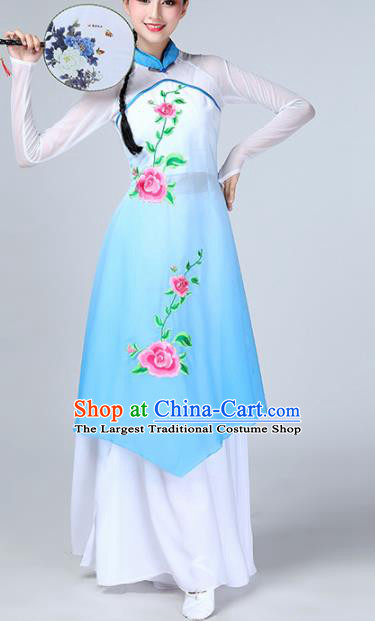 Chinese Traditional Stage Performance Classical Dance Costume Umbrella Dance Blue Dress for Women