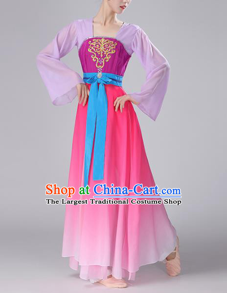 Chinese Traditional Stage Performance Classical Dance Costume Umbrella Dance Rosy Dress for Women