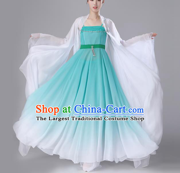 Chinese Traditional Stage Performance Costume Classical Dance Umbrella Dance Green Dress for Women