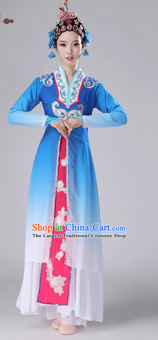 Chinese Traditional Stage Performance Costume Classical Dance Umbrella Dance Deep Blue Dress for Women