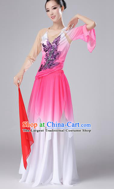 Chinese Traditional Classical Dance Pink Dress Stage Performance Umbrella Dance Costume for Women