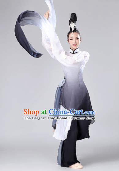 Chinese Traditional Classical Dance Gradient Black Dress Stage Performance Umbrella Dance Costume for Women