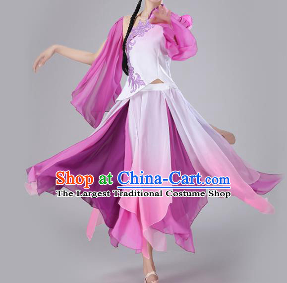 Chinese Traditional Classical Dance Purple Dress Stage Performance Umbrella Dance Costume for Women