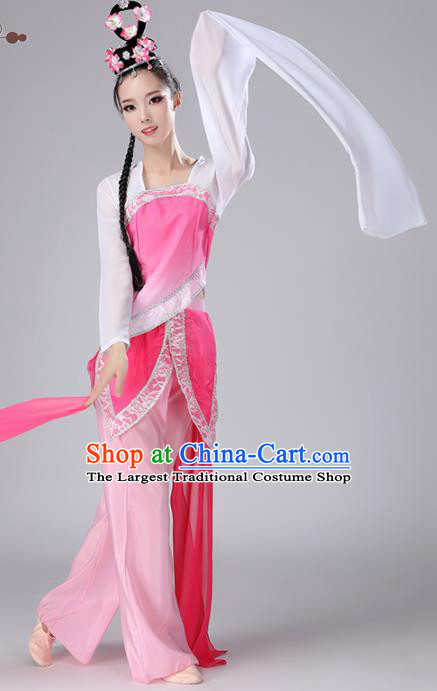 Chinese Traditional Stage Performance Folk Dance Costume National Fan Dance Pink Clothing for Women