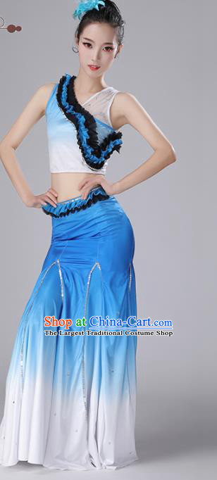 Chinese Traditional Classical Dance Blue Dress Stage Performance Peacock Dance Costume for Women
