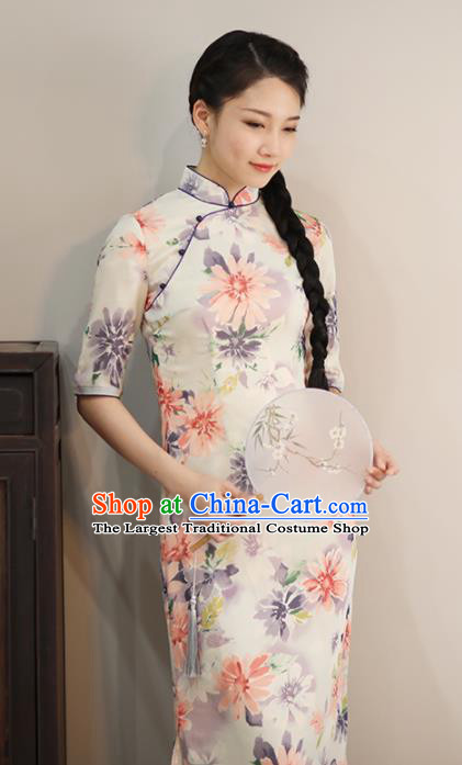 Chinese National Costume Traditional Classical Cheongsam Printing Flowers Qipao Dress for Women