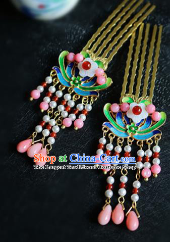 Chinese Ancient Handmade Cloisonne Tassel Hair Combs Traditional Classical Hair Accessories for Women