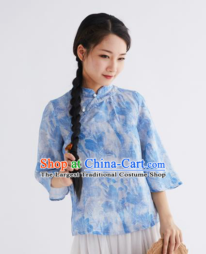 Chinese National Costume Traditional Classical Cheongsam Blue Blouse for Women
