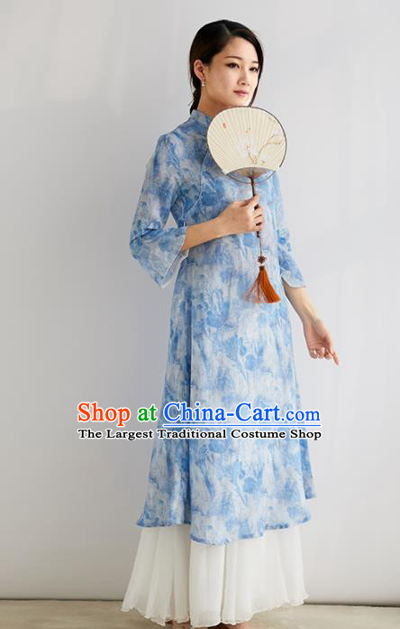 Chinese National Costume Traditional Classical Cheongsam Printing Blue Qipao Dress for Women
