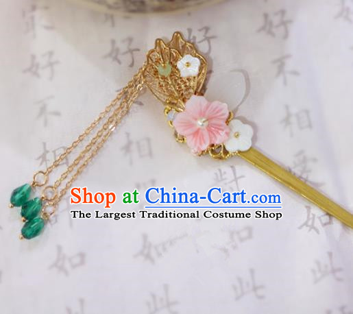 Chinese Ancient Handmade Golden Leaf Tassel Hairpins Traditional Classical Hair Accessories for Women
