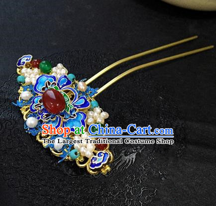 Chinese Ancient Handmade Blueing Agate Hairpins Traditional Classical Hair Accessories for Women