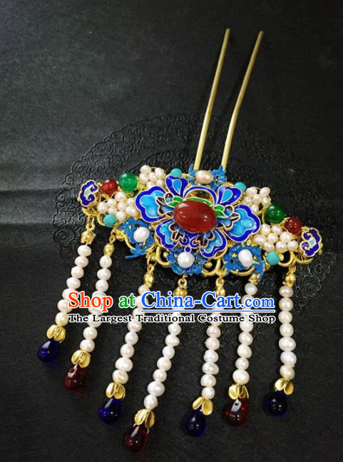 Chinese Ancient Handmade Blueing Agate Tassel Hairpins Traditional Classical Hair Accessories for Women