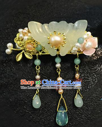 Chinese Ancient Handmade Jade Butterfly Tassel Hair Comb Traditional Classical Hair Accessories for Women