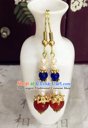 Chinese Ancient Traditional Handmade Pearls Earrings Classical Ear Accessories for Women